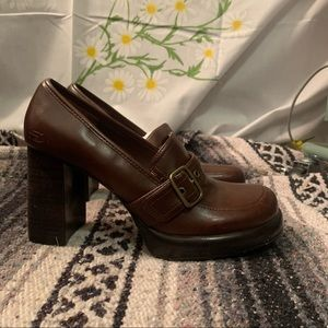 Sketchers chocolate brown chunky heeled loafers